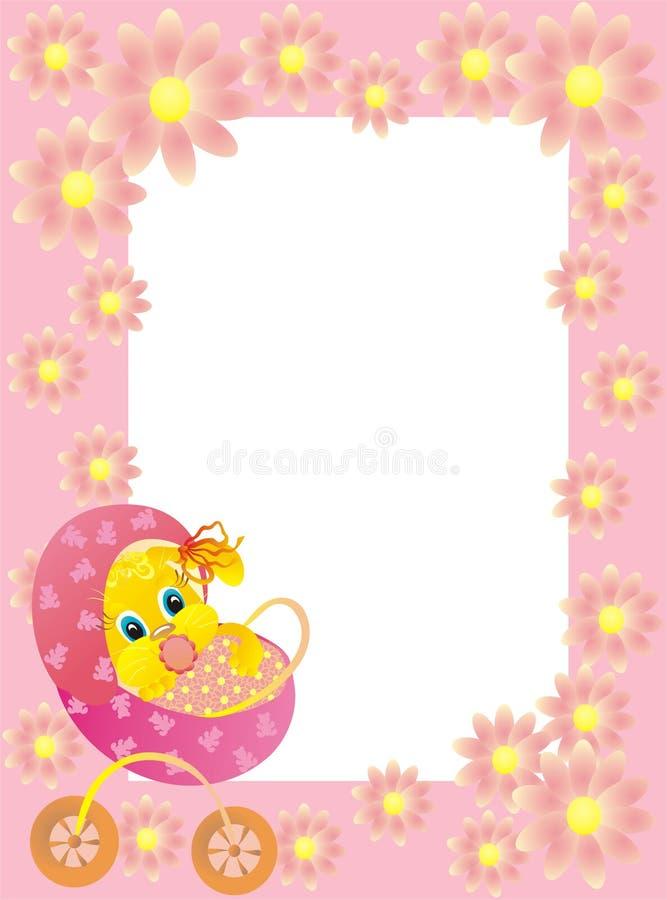 Het kader van de baby met konijntje, vectorillustratie stock illustratie