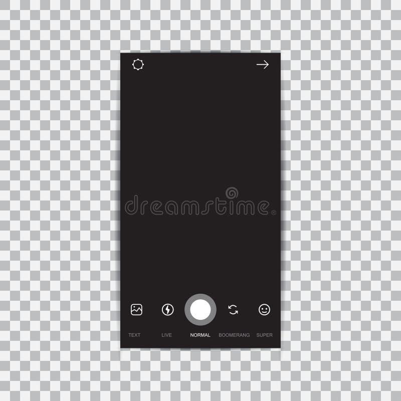 Het kader van de camerainterface met vlakke die pictogrammen op zwarte achtergrond wordt geïsoleerd royalty-vrije illustratie