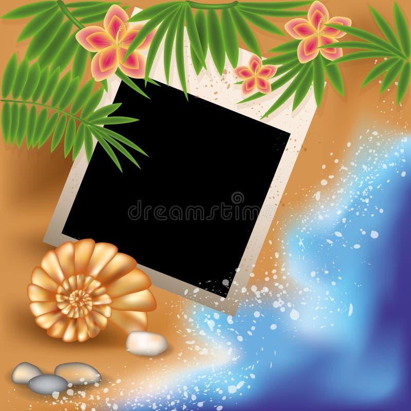 Het kader van de de zomerfoto met zeeschelp en bloemen stock illustratie