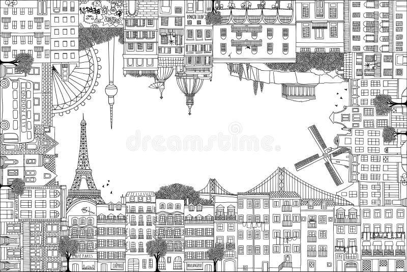 Het kader van de groetkaart met hand getrokken Europese huizen royalty-vrije illustratie