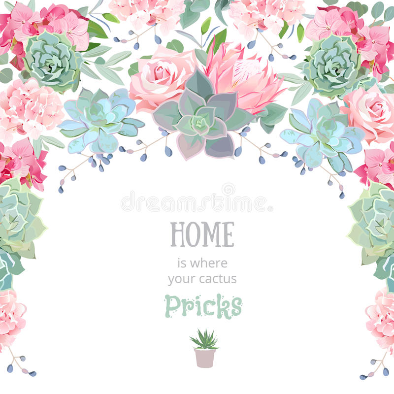 Het kader van de halve cirkelslinger met succulents, protea, nam, pioen toe royalty-vrije illustratie
