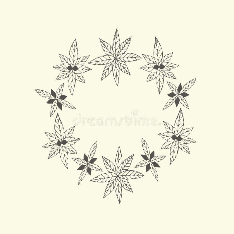 Het kader van de handverf van bloemen in vector wordt gemaakt die vector illustratie