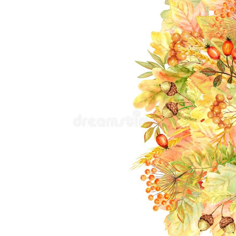 Het Kader van het de herfstblad op een witte achtergrond wordt geïsoleerd die Het bladhand getrokken illustratie van de waterverf vector illustratie