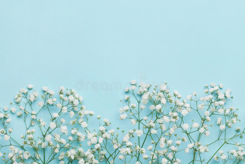 Het kader van de huwelijksbloem op blauwe lijst van hierboven vlak leg stijl stock foto's
