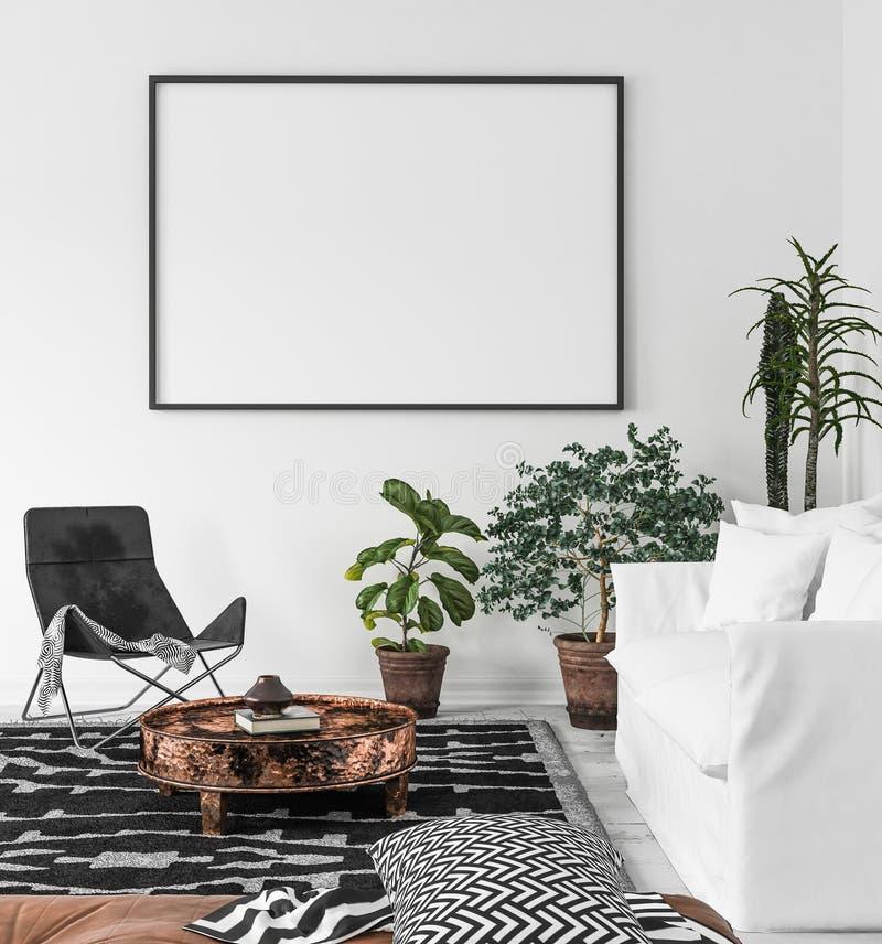Het kader van de modelaffiche op woonkamerachtergrond, stijl scandi-Boho stock afbeeldingen