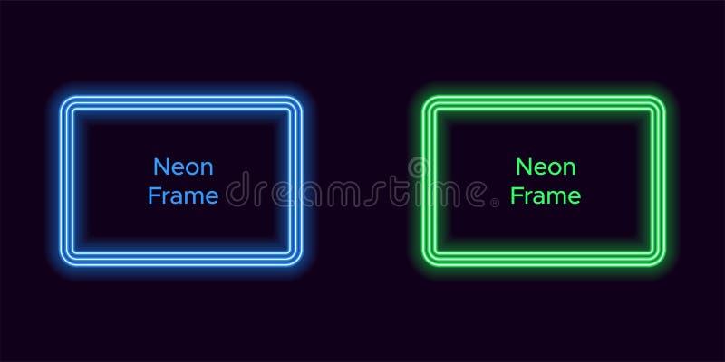Het kader van de neonrechthoek in blauwe en groene kleur vector illustratie