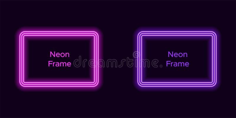 Het kader van de neonrechthoek in purpere en violette kleur royalty-vrije illustratie