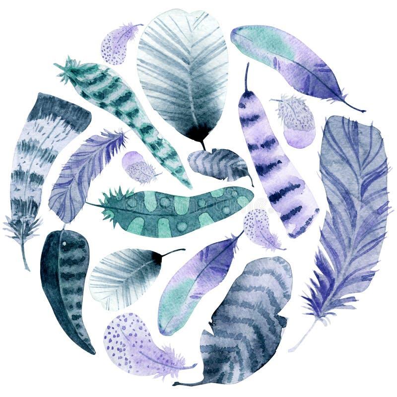 Het kader van de waterverfcirkel Kleurrijke veren op witte achtergrond stock illustratie