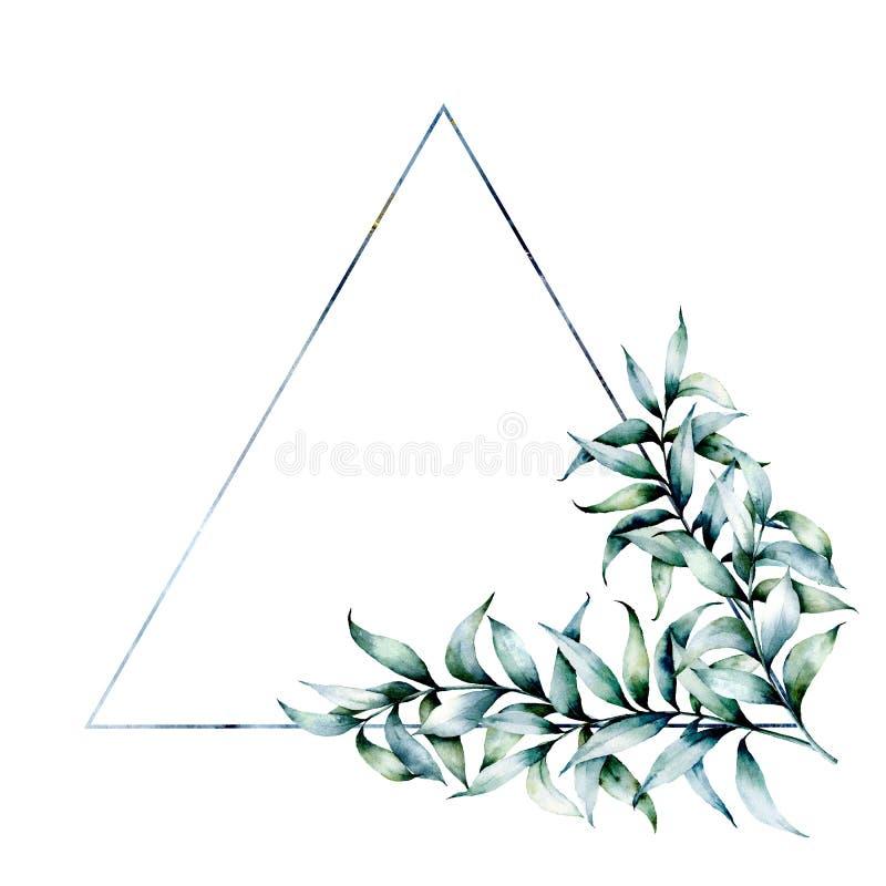 Het kader van de waterverfdriehoek met eucalyptus Hand getrokken modern bloemenetiket met geïsoleerde eucalyptusbladeren en takke royalty-vrije illustratie