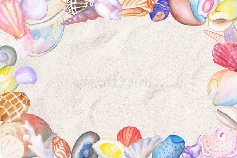 Het kader van de waterverfzeeschelp met tekstplaats Tropische overzeese shells illustratie op strandzand royalty-vrije illustratie