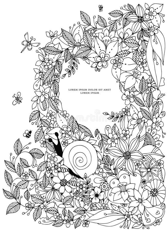 Het kader van de zeeschelpgrens, oceaanpatroon Vector uitstekende illustratie Zentangle Kleurende boekpagina voor volwassene Getr royalty-vrije illustratie
