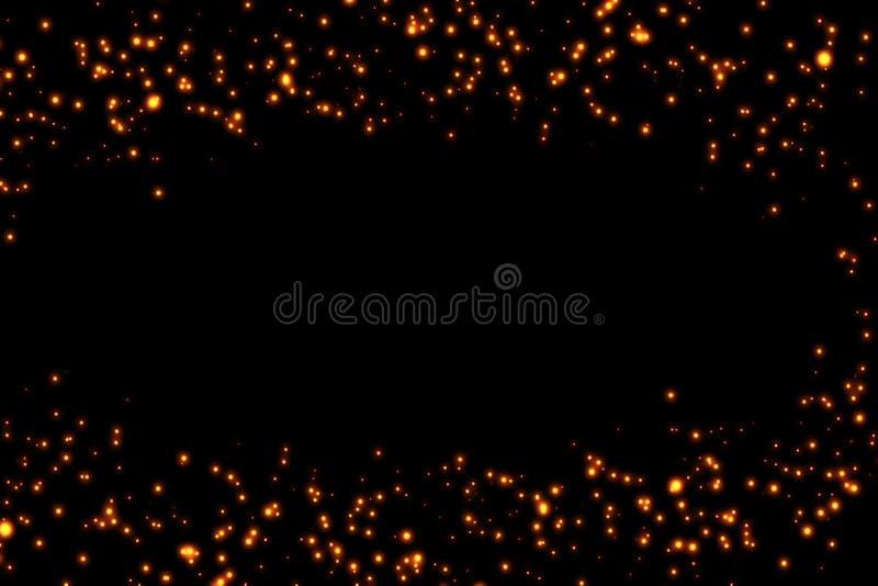 Het kader van gouden schittert de deeltjessterren van fonkelingsbellen op zwarte achtergrond, vakantie van het gebeurtenis de fee vector illustratie