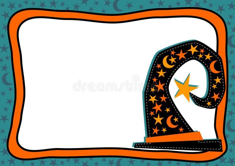 Het Kader van Halloween van de heksenhoed met sterren manen royalty-vrije illustratie