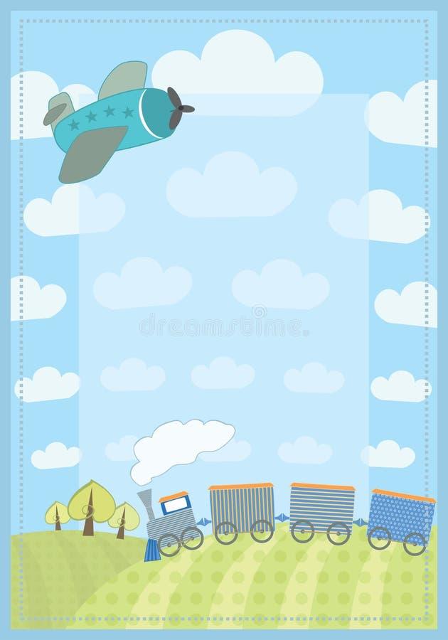 Het kader van het jonge geitje met trein en vliegtuig vector illustratie