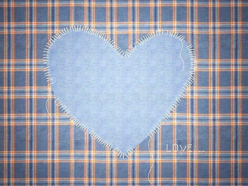 Het kader van jeans met hart. vector illustratie
