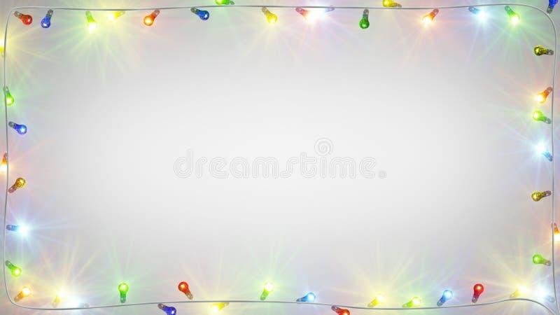 Het kader van Kerstmis gloeilampen royalty-vrije illustratie