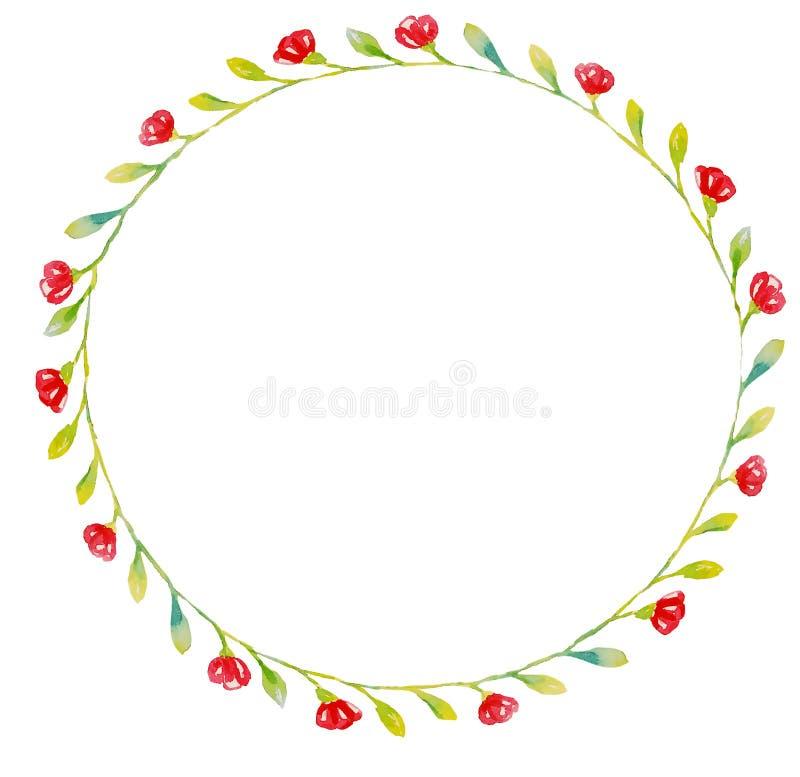 Het kader van kleine bladeren en bloemen is perfect voor overdrukplaatjeplaten of uitnodigingen met een leeg centrum stock illustratie