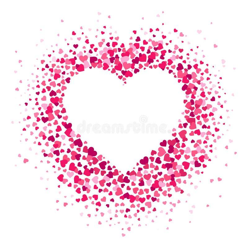 Het kader van het liefdehart De verspreide hartenconfettien in hartvorm, valentijnskaartenkaart en Romaanse vormen verspreiden ve vector illustratie