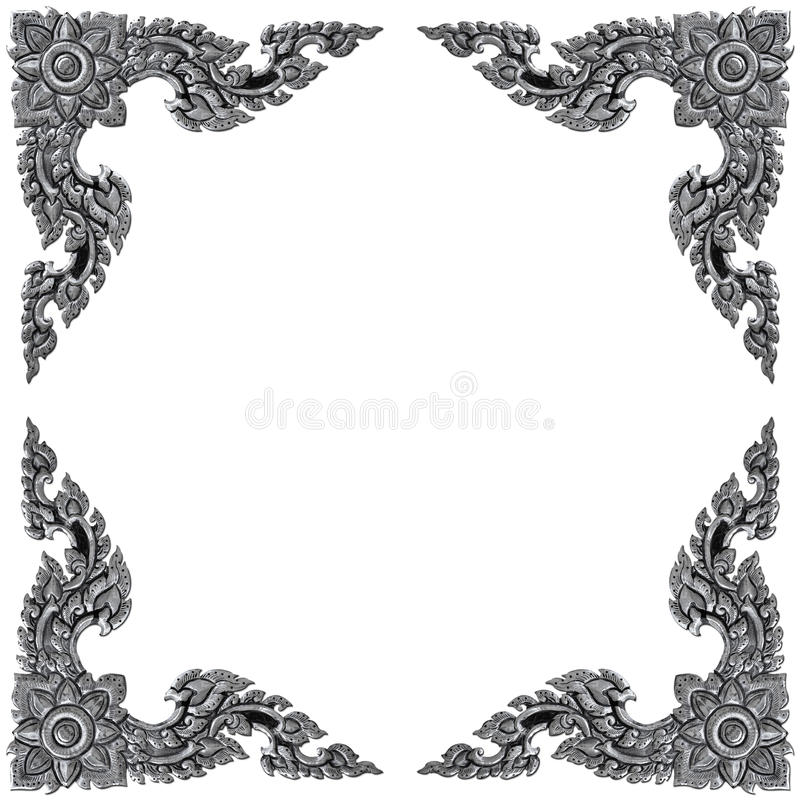 Het kader van ornamentelementen, uitstekende zilveren bloemenontwerpen royalty-vrije stock afbeeldingen