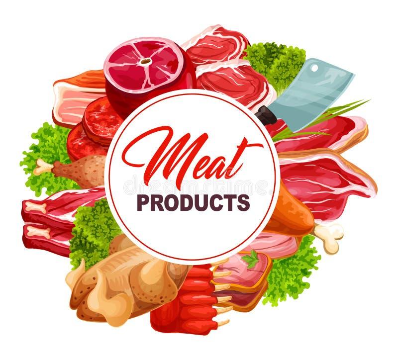 Het kader van het slachterijvoedsel met vleeswaren vector illustratie
