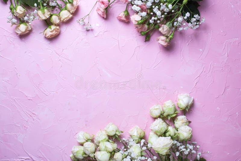 Het kader van verse witte gypsofila en wit nam bloemen op roze geweven achtergrond toe royalty-vrije stock foto
