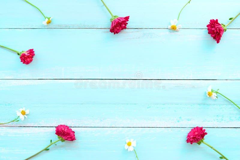 Het kader van witte wilde bloemen en rode chrysant wordt gemaakt bloeit op blauwe houten achtergrond die royalty-vrije stock foto's