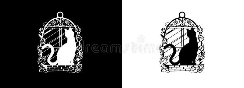 Het Kader zwarte kat van het referentie Decoratieve Metaal, witte kat, bij venster met rozen stock illustratie