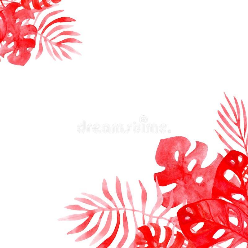 Het kaderachtergrond van de waterverfillustratie van tropische bladeren van koraalkleur royalty-vrije illustratie