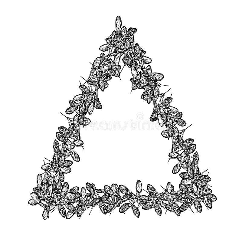 Het kaderdriehoek zwart-01 van esdoornzaden stock illustratie