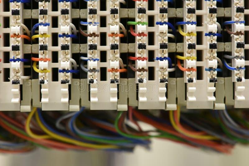 Het kaderkabinet van de telecommunicatie-uitrustings hoofddistributie royalty-vrije stock afbeelding