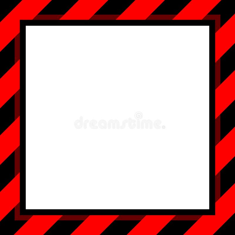 Het kadermalplaatje van de waarschuwingsbord rood en zwart streep voor achtergrond en witte exemplaarruimte, het gestreepte afbaa royalty-vrije illustratie
