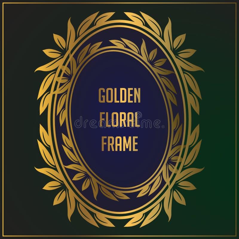 Het kaderontwerp van het luxe ovaal gouden bloemenornament Gouden kaderachtergrond met luxe bloemenornament Toegepast in uitnodig royalty-vrije illustratie