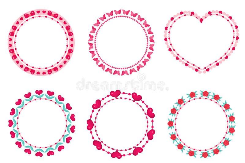 Het kaderreeks van de valentijnskaartendag Leuke ronde grens met ruimte voor tekst Geïsoleerd op wit stock illustratie