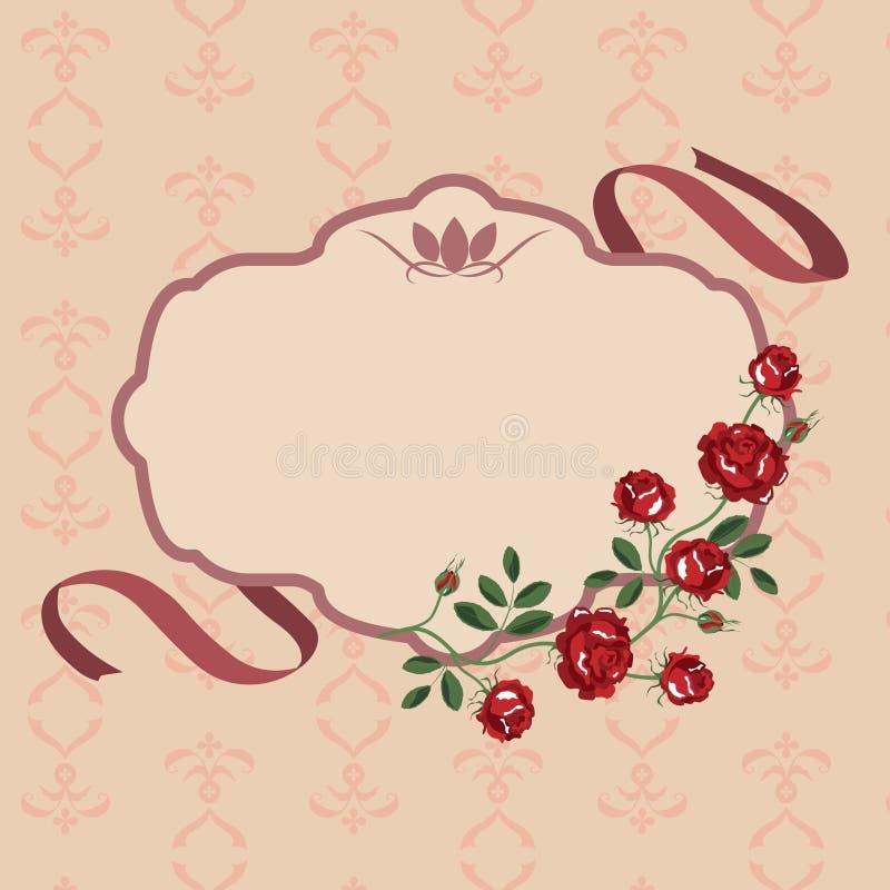 Het kadervector van de rozenbloem stock illustratie