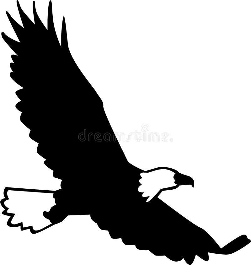 Het kale Eagle-silhouet vliegen stock illustratie