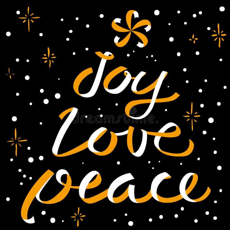 Het kalligrafische van letters voorzien van Joy Love Peace Christmas Nieuwjaar backgr vector illustratie