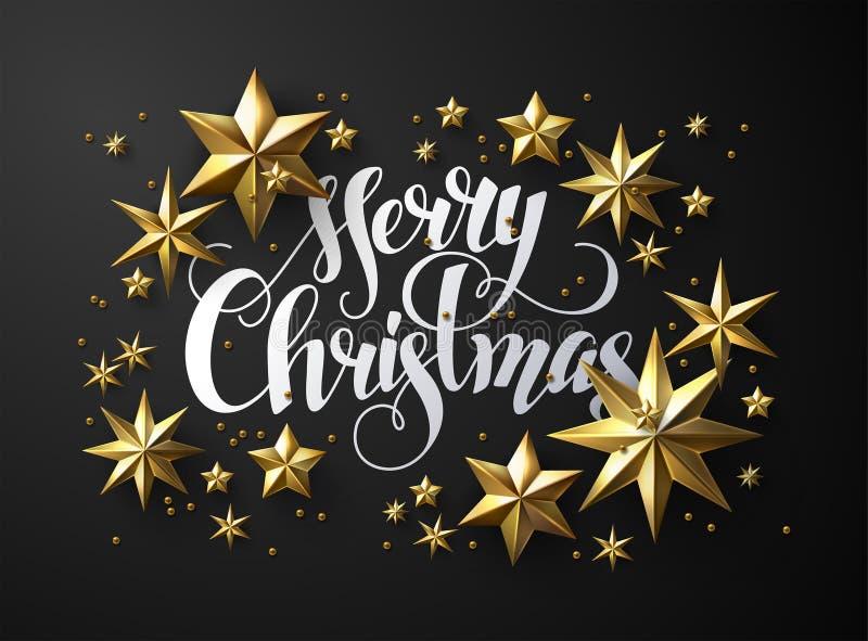 Het kalligrafische Vrolijke Kerstmis ` van ` Van letters voorzien Verfraaid met Gouden Sterren stock illustratie