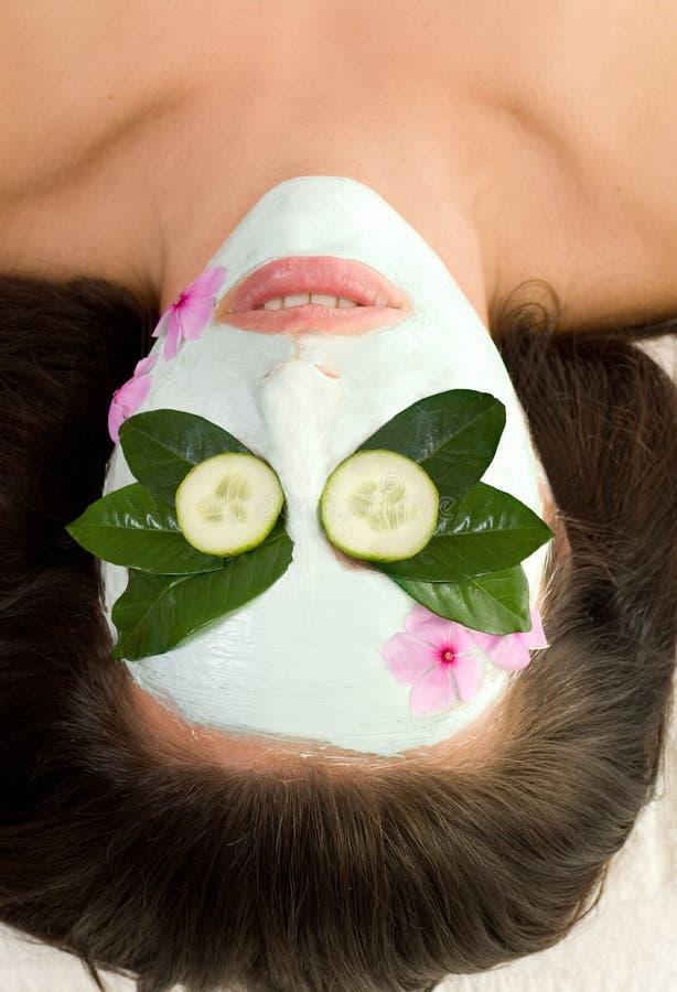 Het kalmerende Groene masker van de Thee en van de Komkommer royalty-vrije stock fotografie