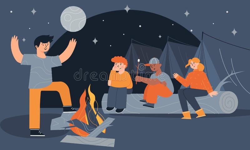 Het kamp kleurrijke illustratie van de jonge geitjeszomer met de kinderen, die dichtbij een vuur zitten stock illustratie