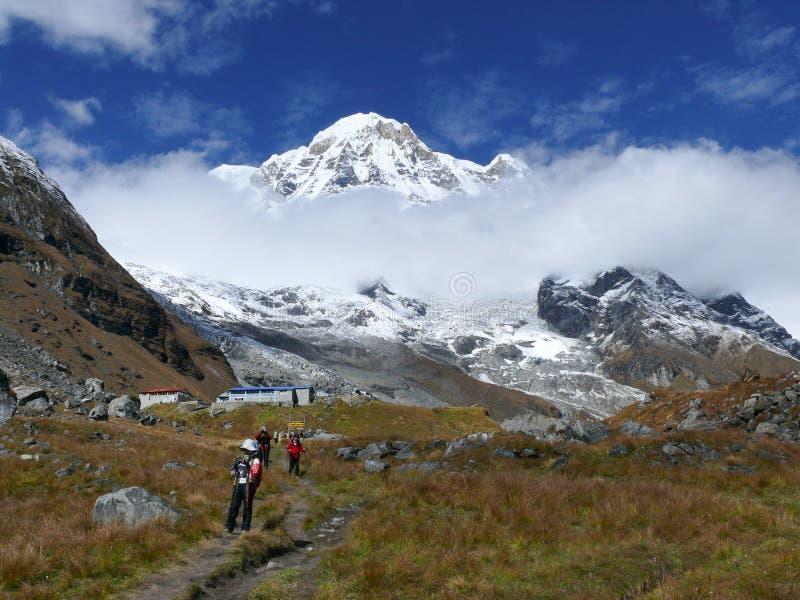 Het kamp van de Annapurnabasis stock foto