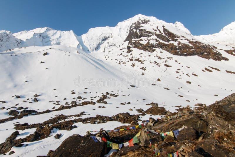 Het kamp van de Annapurnabasis stock afbeelding