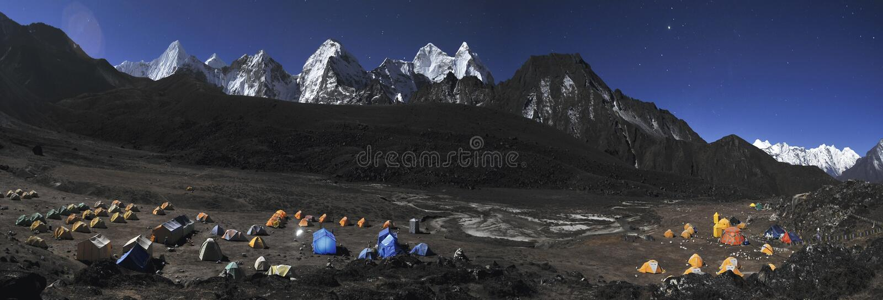 Het Kamp van de Basis van Dablam van Ama. royalty-vrije stock foto's