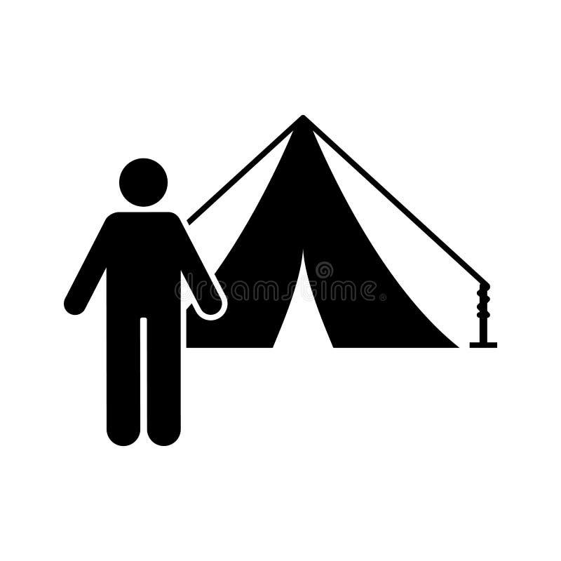Het kamp van de mensentent het pictogram van het wandelingsavontuur Element van de illustratie van het pictogramavontuur vector illustratie