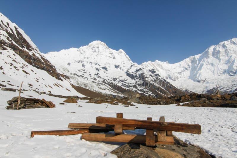 Het kamp van de trekkingstoâ Annapurna basis royalty-vrije stock afbeelding
