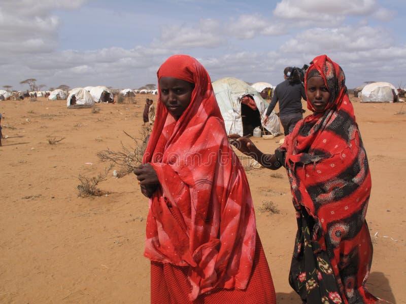 Het Kamp van de Vluchteling van de Honger van Somalië royalty-vrije stock foto