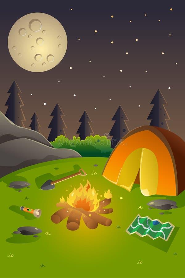 Het kampaffiche van de de jeugdzomer vector illustratie