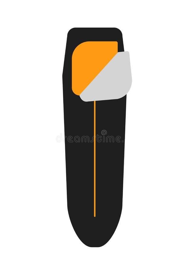 Het kamperen apparatuur Slaap zwarte zak Vector illustratie stock illustratie