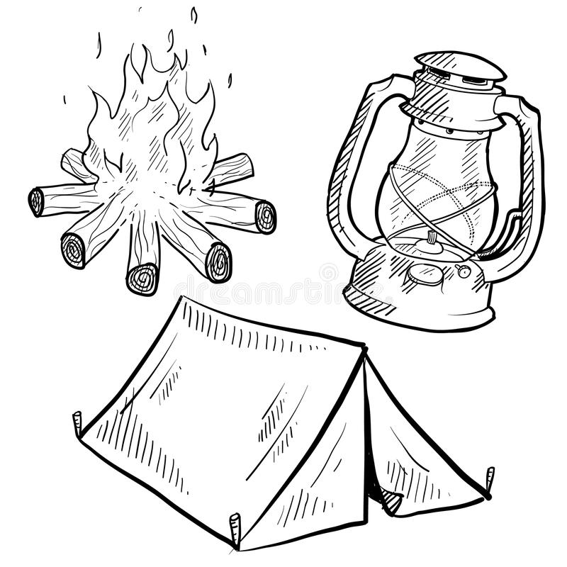 Het kamperen apparatuur tekening royalty-vrije illustratie