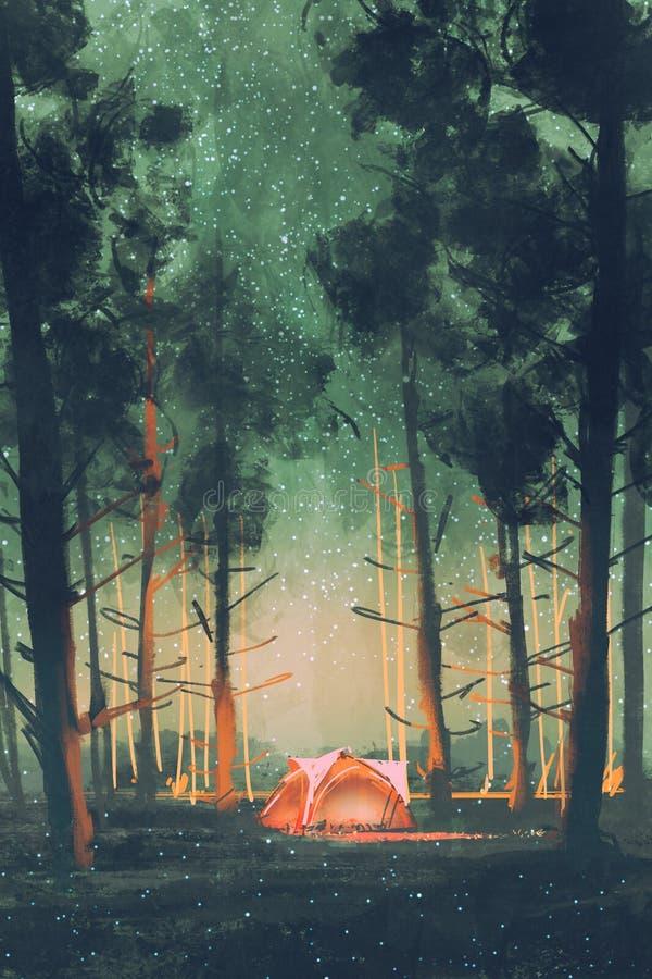 Het kamperen in bos bij nacht vector illustratie