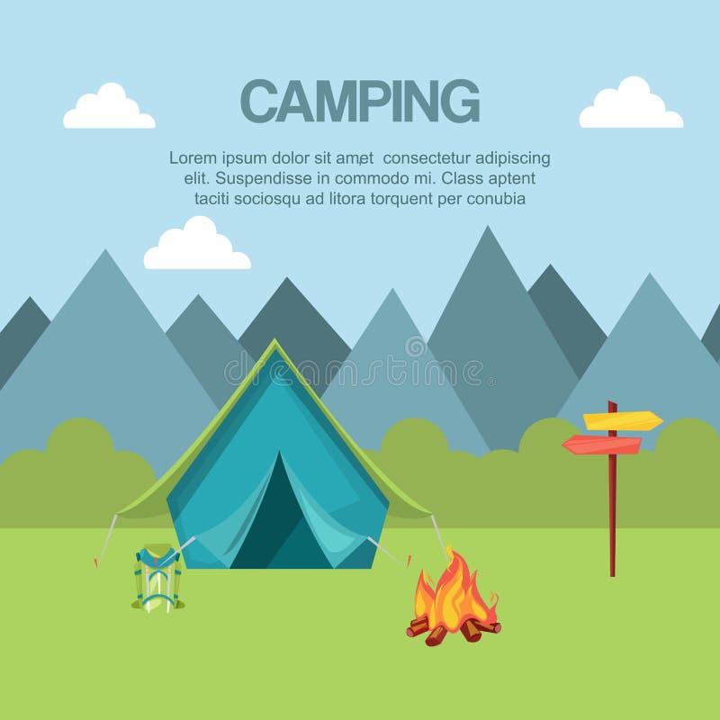 Het kamperen in bosbanner vectorillustratie Het concept van de vakantie en van het Toerisme Reizend materiaal zoals tent en royalty-vrije illustratie
